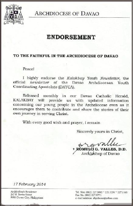 Endorsement Letter  Davao Catholic Herald