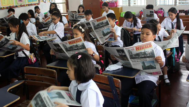 Ateneo grade school pupils are now subscribers of Asia's longest-running Catholic newspaper Davao Catholic Herald. DCHerald commits to be more child-friendly in presenting the news and features in the pages of the paper. Articles for children will be published every now and then. (Photo by Troy Vergara)