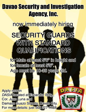 HIRING - Davao Security and Investigation Agency, Inc.