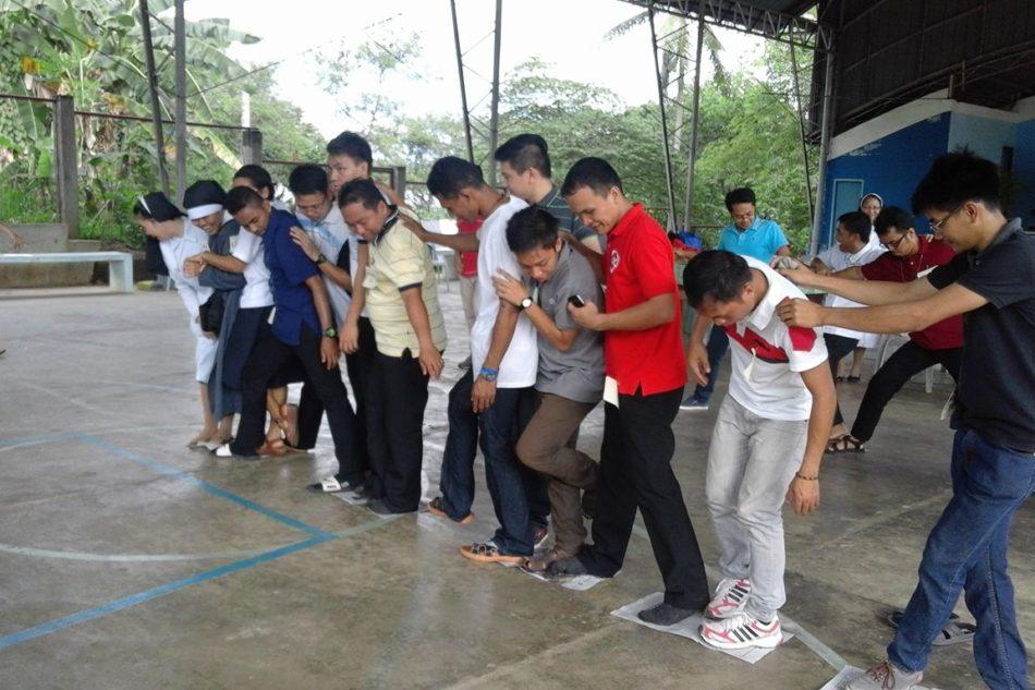 Young religious gather, exercise joy
