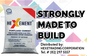 Hexement Portland Cement distributed by Hexetrading Corporation. Tel # (82) 297-5557